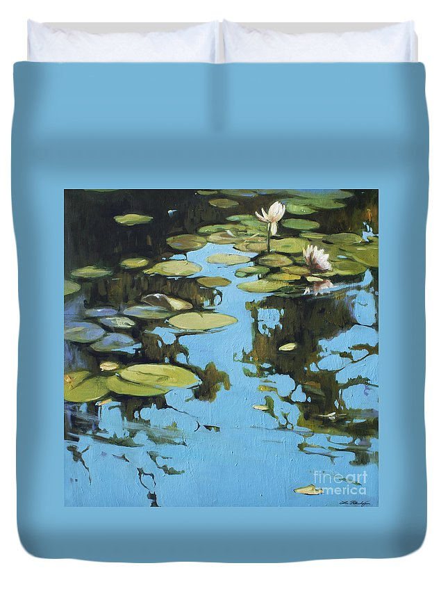 Lin Petershagen Duvet Cover featuring the painting Fresh Water by Lin Petershagen