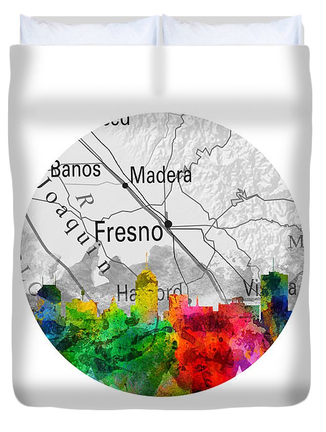Fresno Duvet Cover featuring the painting Fresno California 12rd by Aged Pixel