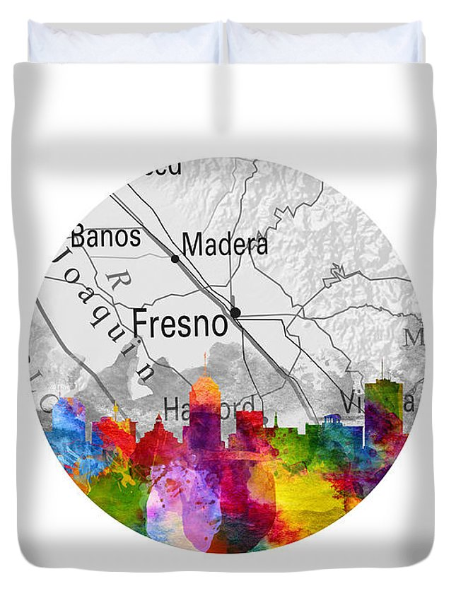 Fresno Duvet Cover featuring the painting Fresno California 13rd by Aged Pixel