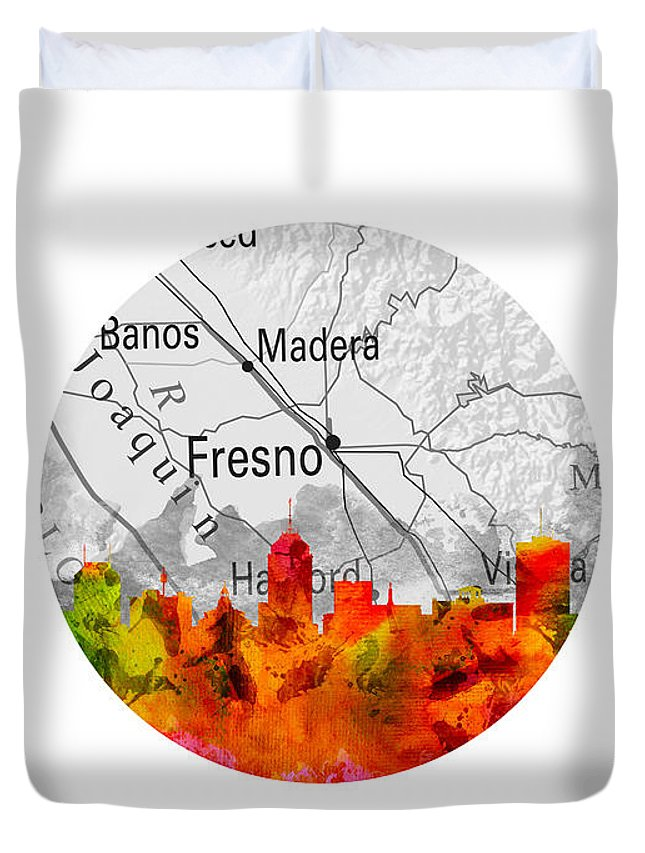 Fresno Duvet Cover featuring the painting Fresno California 15rd by Aged Pixel