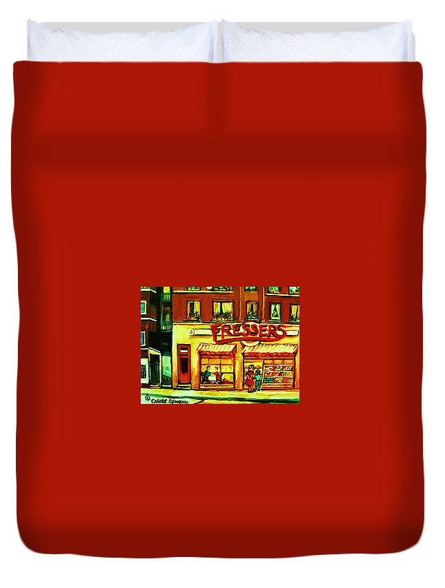 Fressers Duvet Cover featuring the painting Fressers Takeout Deli by Carole Spandau