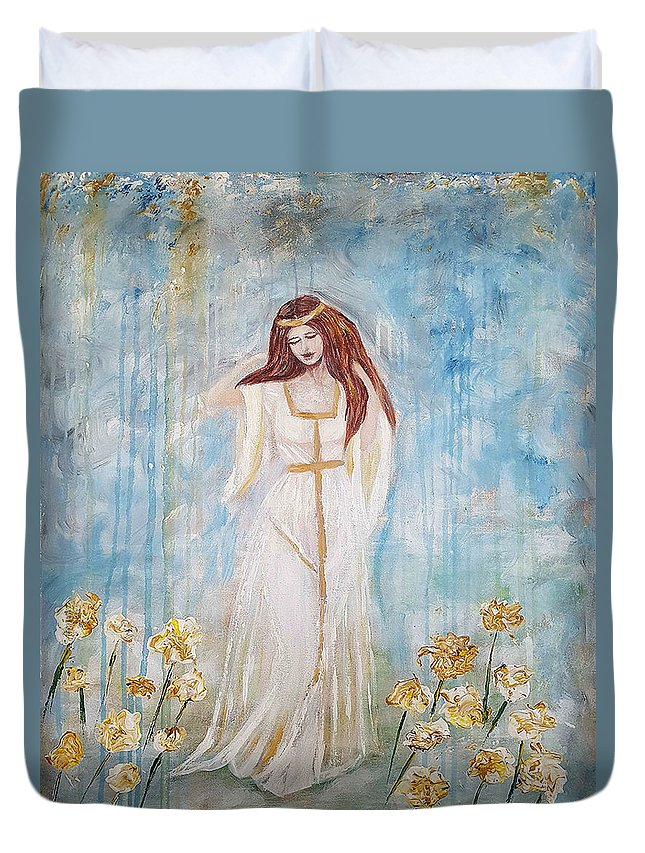 Duvet Cover featuring the painting Freya - Goddess Of Love And Beauty by A B