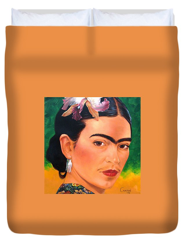 Frida Kahlo Duvet Cover featuring the painting Frida Kahlo 2003 by Jerrold Carton