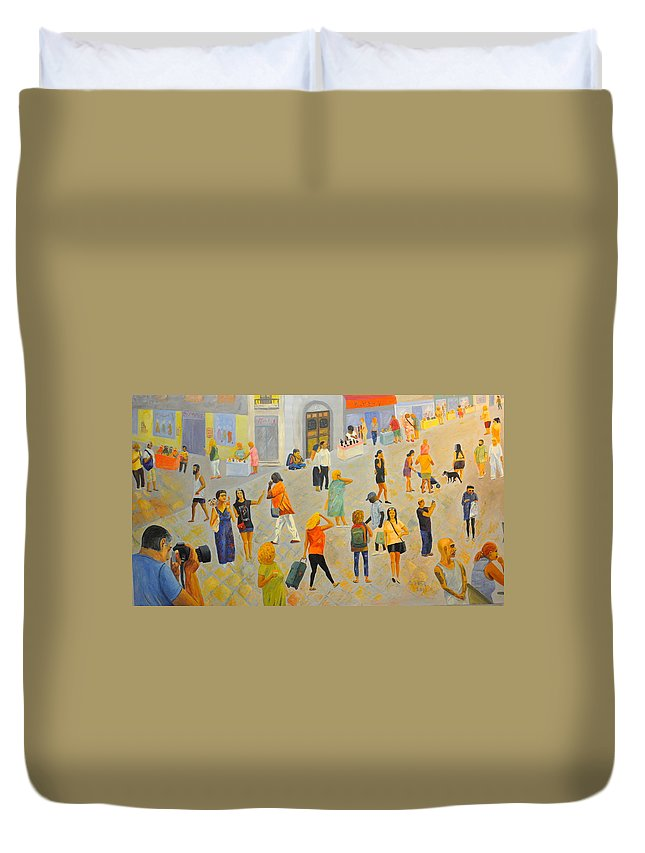 People Duvet Cover featuring the painting Friday In Tel Aviv by Asher Topel