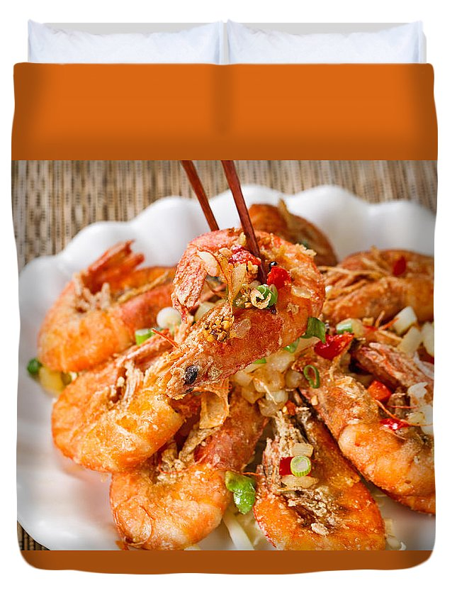 Shrimp Duvet Cover featuring the photograph Fried Bread Coated Shrimp And Garnishes On White Serving Plate R by Thomas Baker