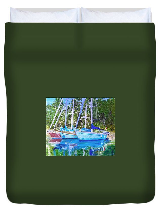 Sail Boats Duvet Cover featuring the painting Friends Anchored by Michael Lee