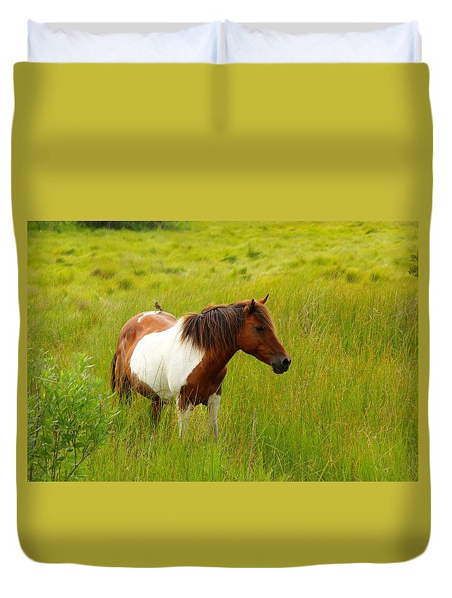 Horse Duvet Cover featuring the photograph Friends by Angela Garrison