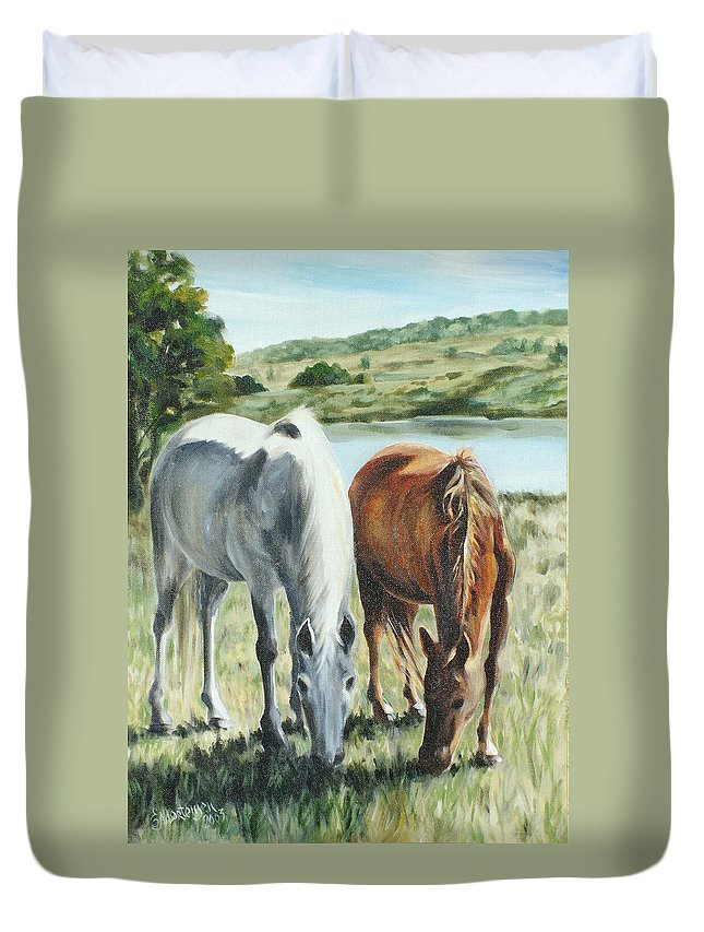 Horse Duvet Cover featuring the painting Friends At Quialigo by Ekaterina Mortensen