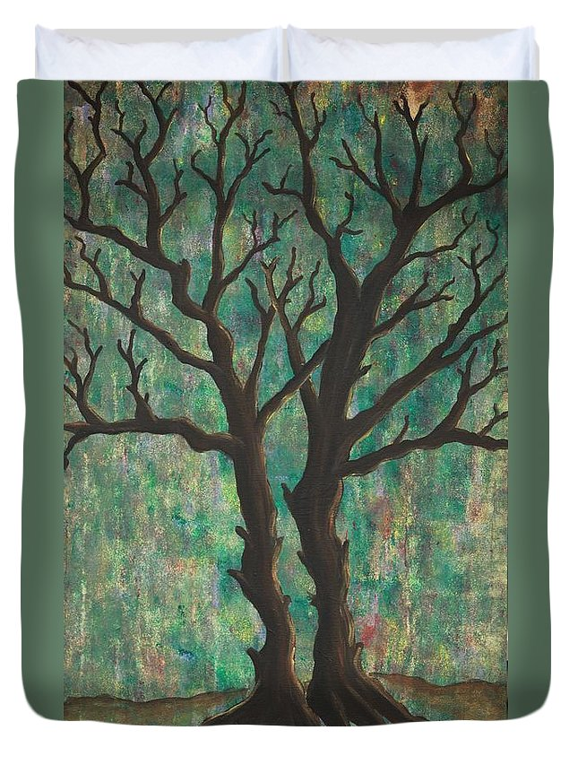 Trees Duvet Cover featuring the painting Friends by Jacqueline Athmann