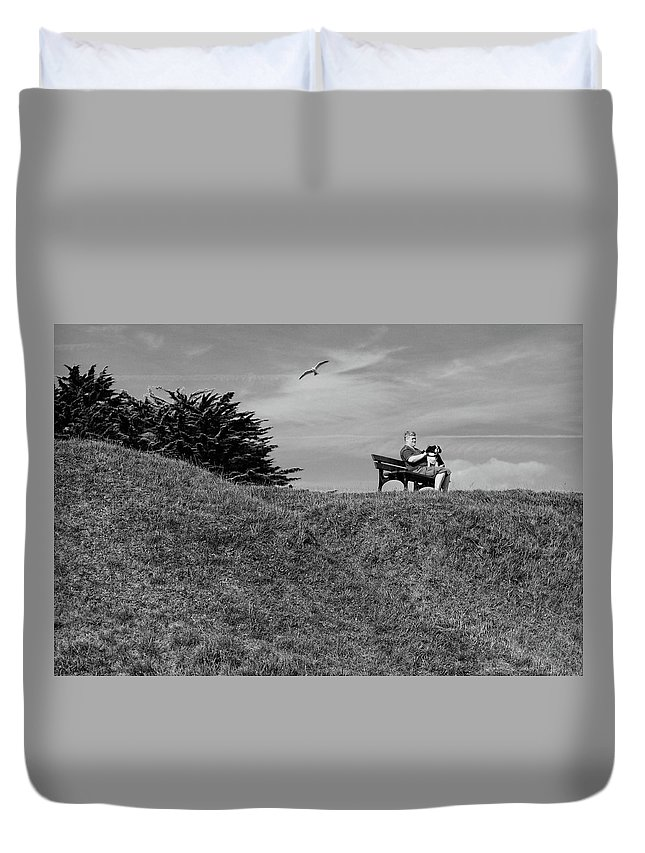 B&w Duvet Cover featuring the photograph Friends by Jean-Philippe Jouve