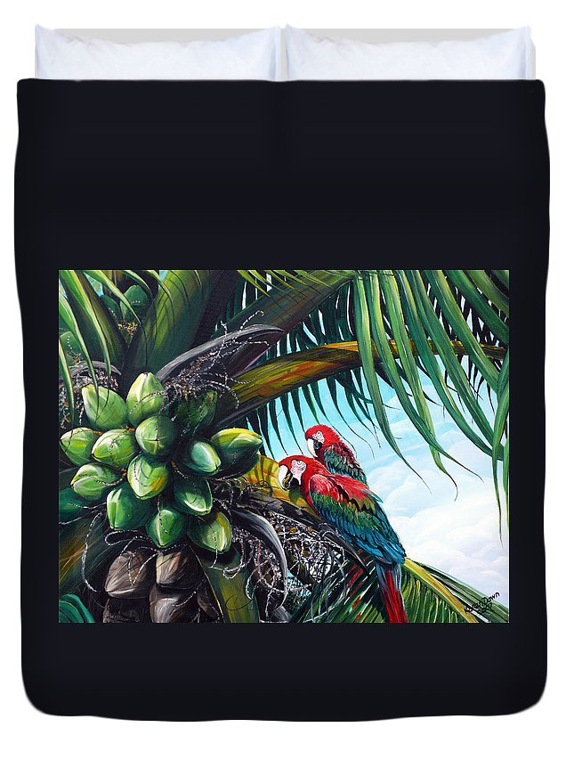 Macaws Bird Painting Coconut Palm Tree Painting Parrots Caribbean Painting Tropical Painting Coconuts Painting Palm Tree Greeting Card Painting Duvet Cover featuring the painting Friends Of A Feather by Karin Dawn Kelshall- Best