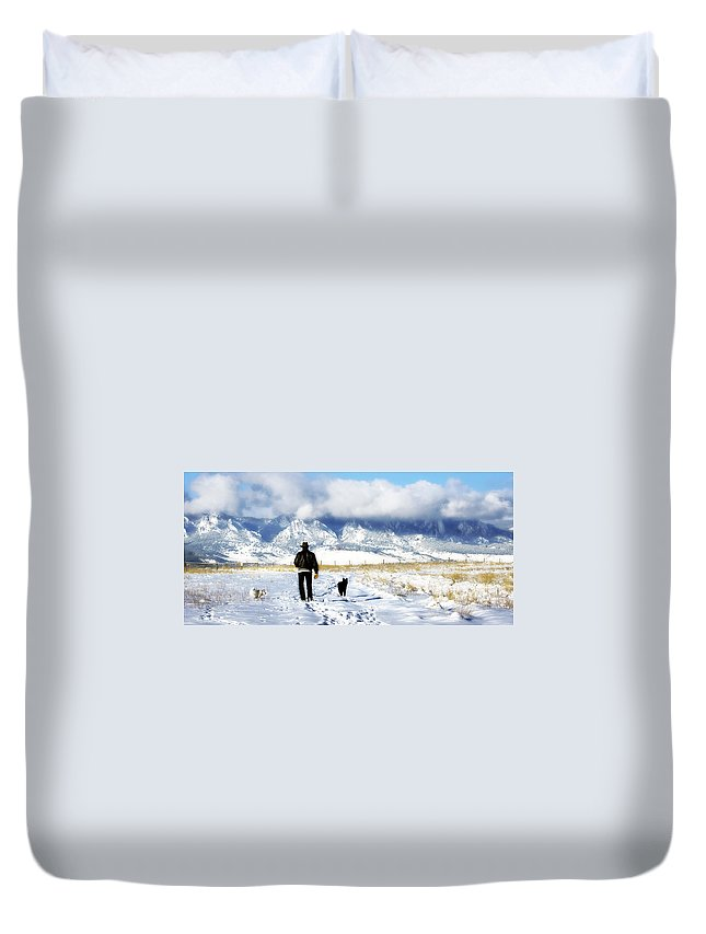Americana Duvet Cover featuring the photograph Friends On A Walk by Marilyn Hunt