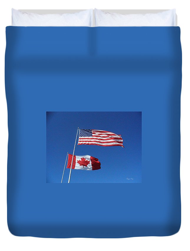 Flags Duvet Cover featuring the photograph Friends by Peggy King