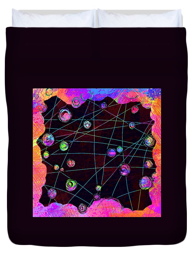 Abstract Duvet Cover featuring the digital art Friends by William Russell Nowicki