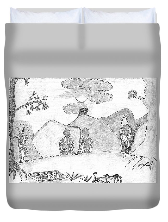 #friends #mountain #sunrise #trees Duvet Cover featuring the drawing Friends Watching A Sun-rise by Rajiv Banerjee