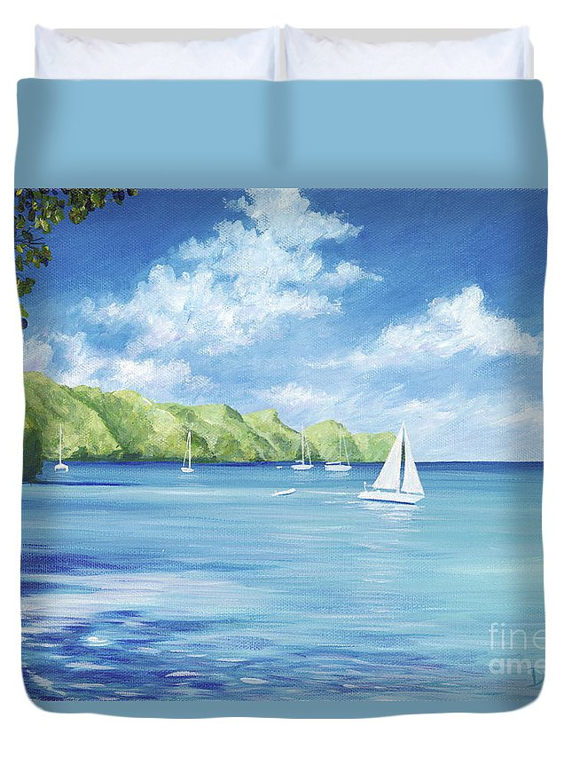 Nautical Seascape Duvet Cover featuring the painting Friendship Bay by Danielle Perry