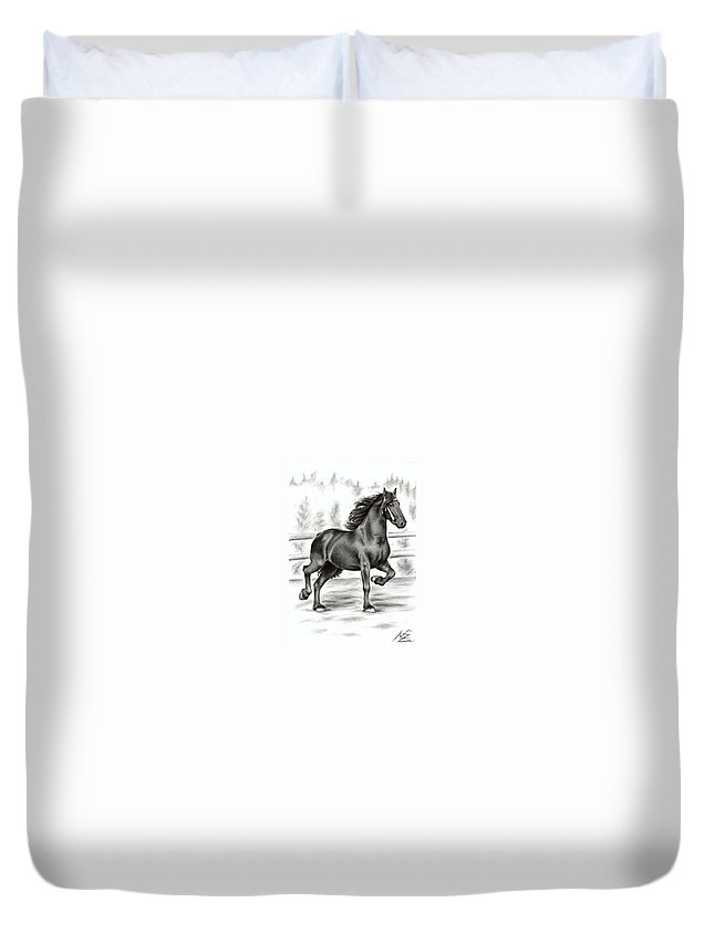 Horse Duvet Cover featuring the drawing Friesian Horse by Nicole Zeug