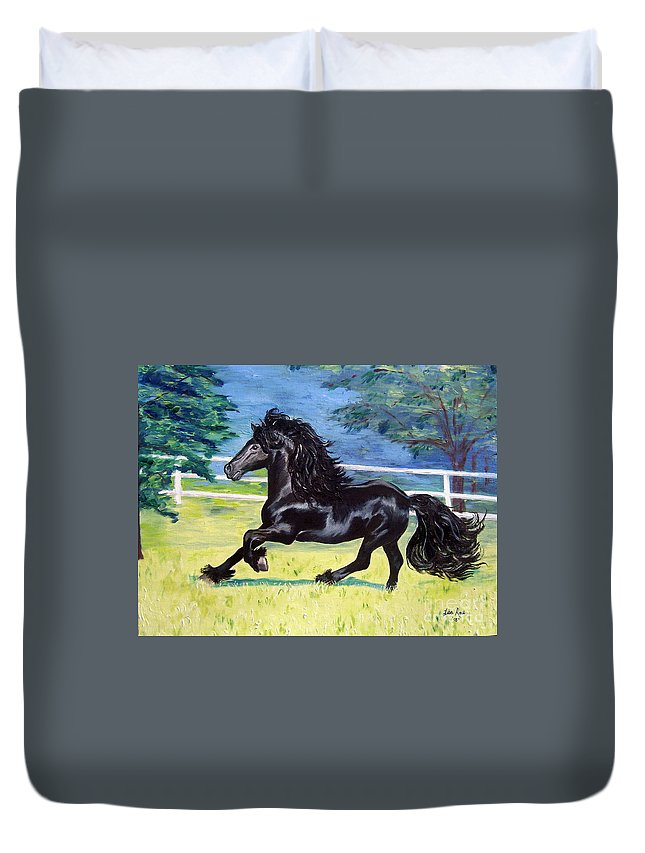 Friesian Duvet Cover featuring the painting Friesian, Run Like The Wind by Lisa Rose Musselwhite