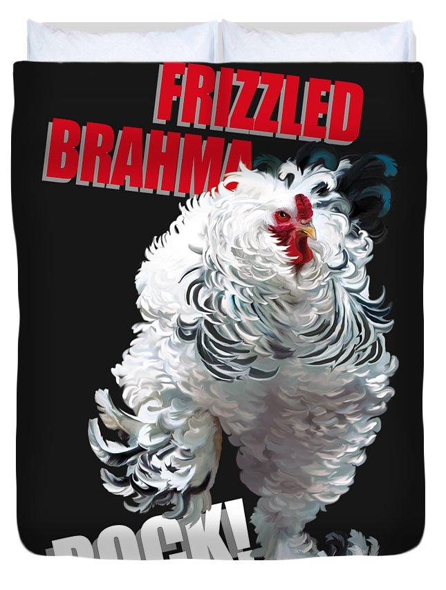 Frizzled Brahma Light Brahma Duvet Cover featuring the digital art Frizzled Brahma T-shirt Print by Sigrid Van Dort