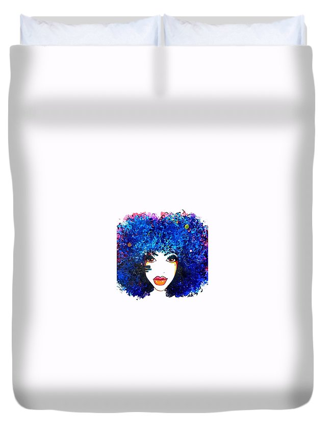 Duvet Cover featuring the painting Fro Blues by Afroism Kouture