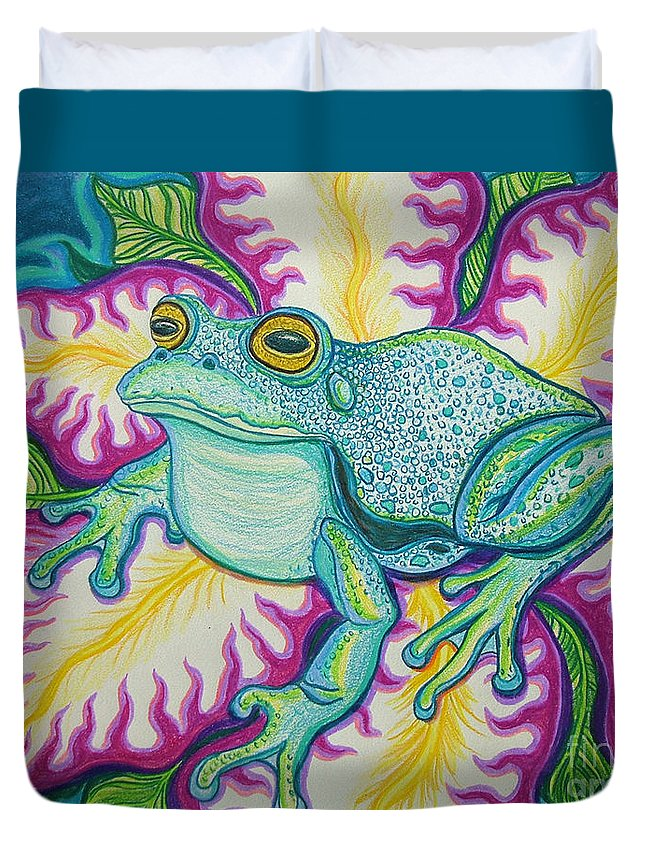 Frog And Flower Art Duvet Cover featuring the drawing Frog And Flower by Nick Gustafson