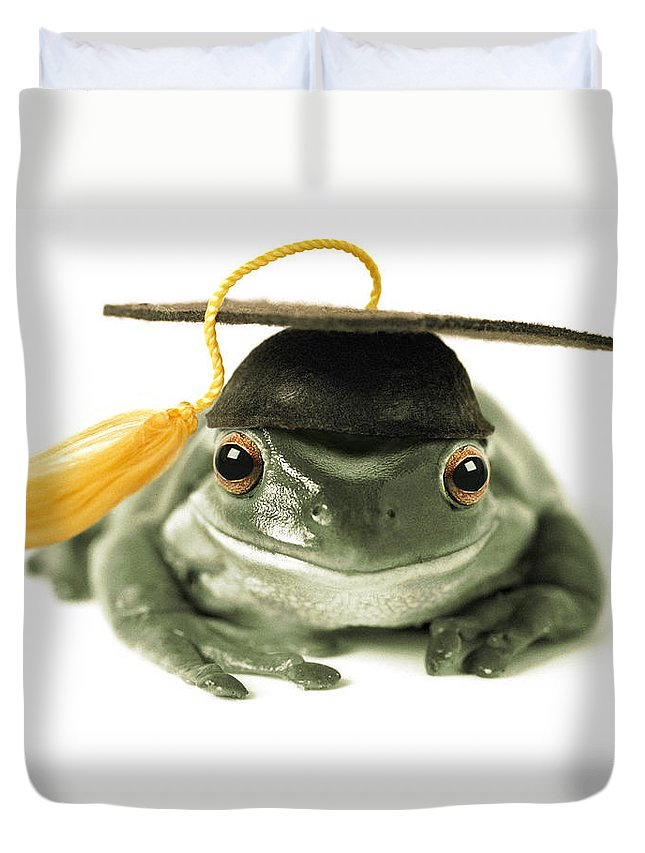 Light Duvet Cover featuring the photograph Frog Graduate by Darwin Wiggett