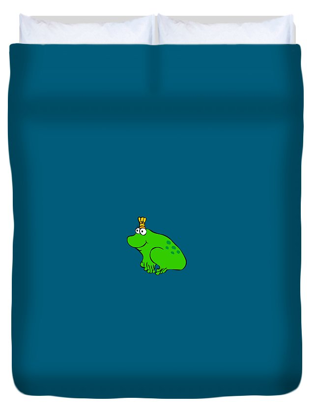 You Are My Princess! Duvet Cover featuring the digital art Frog by Monica Moscovich