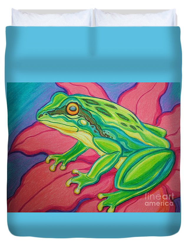 Frog Duvet Cover featuring the drawing Frog On Flower by Nick Gustafson