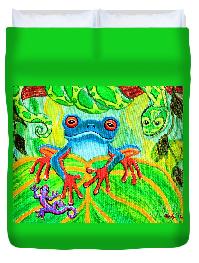 Frog Art Duvet Cover featuring the painting Frog Snake And Gecko In The Rainforest by Nick Gustafson