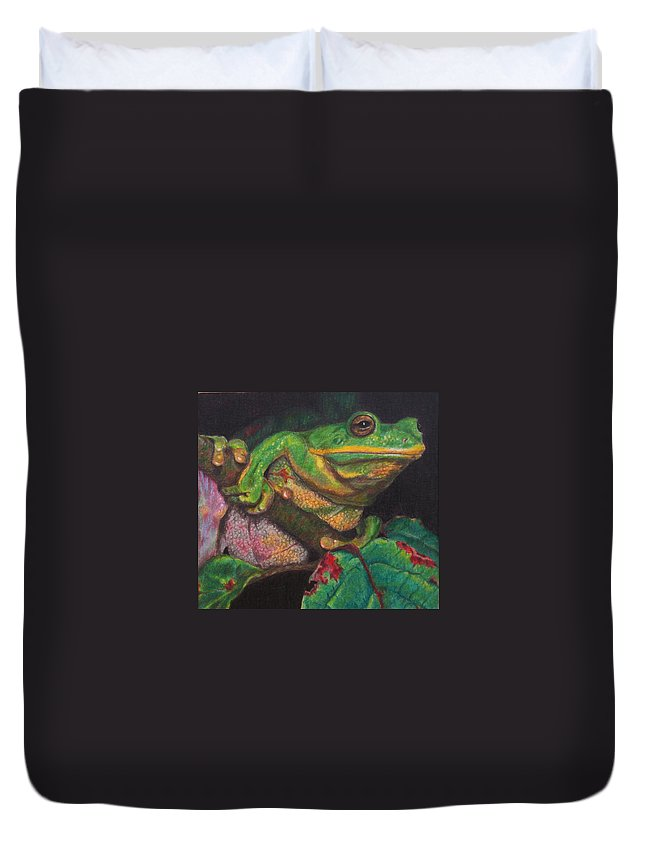 Frog Duvet Cover featuring the painting Froggie by Karen Ilari