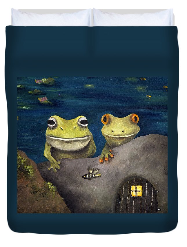 Frog Duvet Cover featuring the painting Frogland Detail by Leah Saulnier The Painting Maniac
