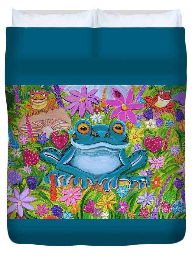 Frog Duvet Cover featuring the painting Frogs And Flowers by Nick Gustafson