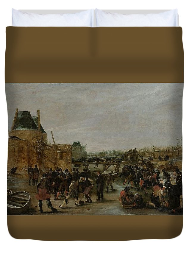 Painting Duvet Cover featuring the painting Frolicking On A Frozen Canal In A Town by Hendrick Avercamp