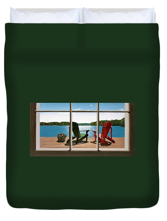 Adirondack Chairs Duvet Cover featuring the painting From A Window by Kenneth M Kirsch