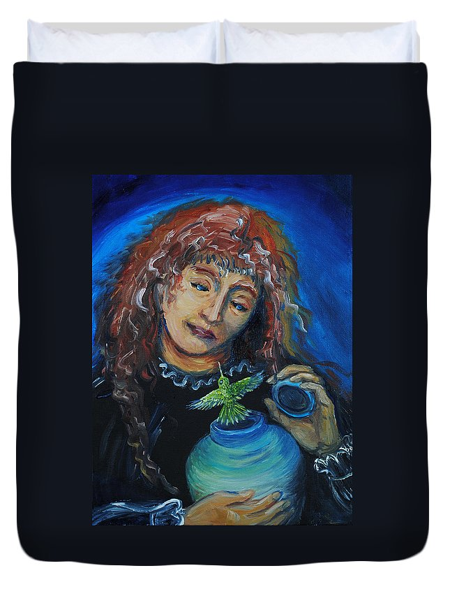 Mystical Duvet Cover featuring the painting From Our Sweet Mother's Ashes by Dawn Senior-Trask