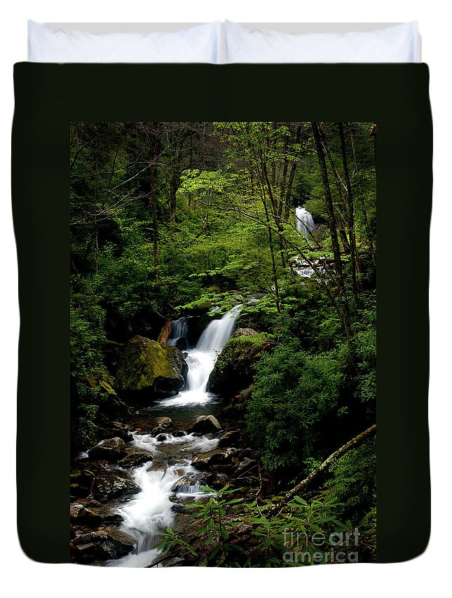 Waterfalls Duvet Cover featuring the photograph From Out Of The Smoky Mountains by Paul W Faust - Impressions of Light