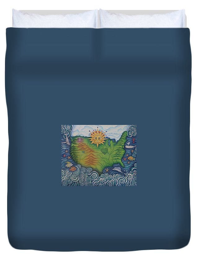 Map Duvet Cover featuring the painting From Sea To Shining Sea by Jeniffer Stapher-Thomas