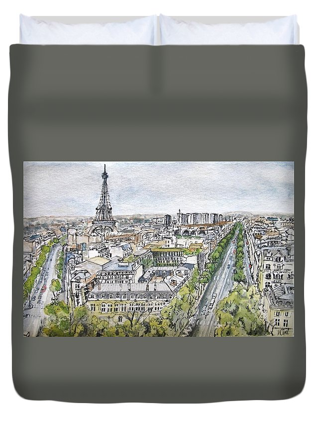 Sky Duvet Cover featuring the painting From The Arc by Lisa Cini