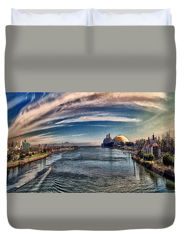 Long Beach Duvet Cover featuring the digital art From The Bridge by Bob Winberry