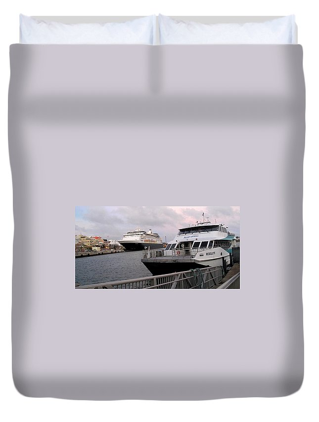 Hamilton Duvet Cover featuring the photograph From The Ferry Dock by Ian MacDonald