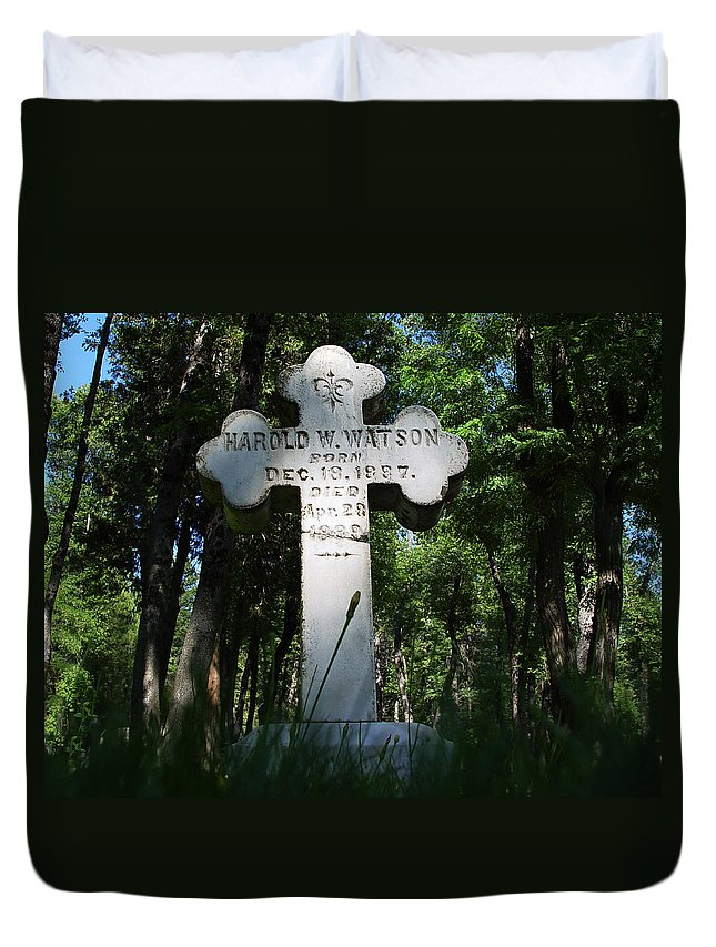 From The Grave Duvet Cover featuring the photograph From The Grave No4 by Peter Piatt
