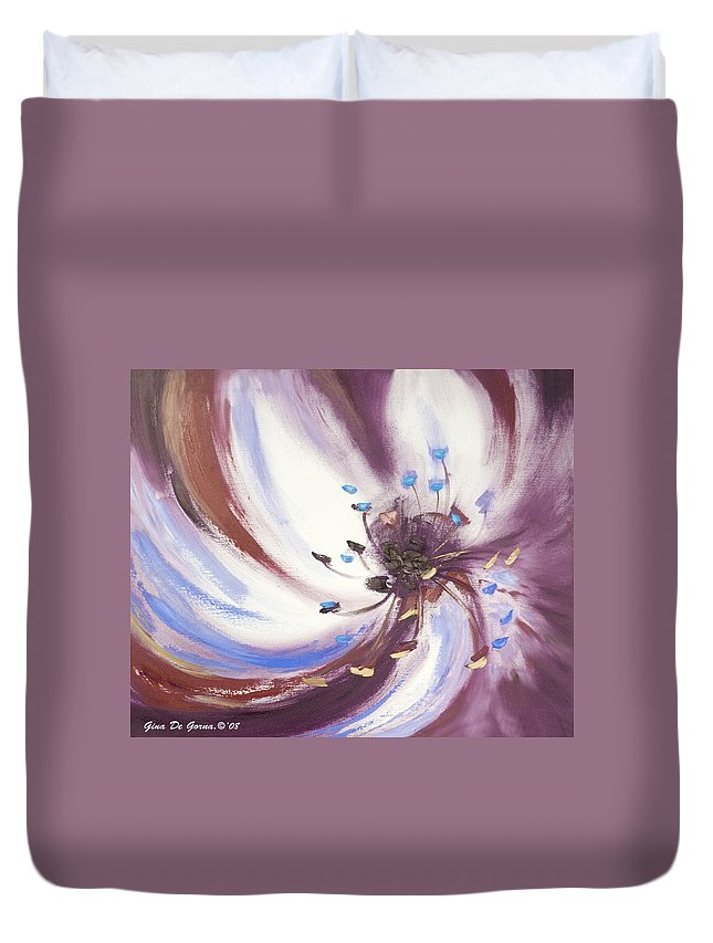 Brown Duvet Cover featuring the painting From The Heart Of A Flower Brown 2 by Gina De Gorna