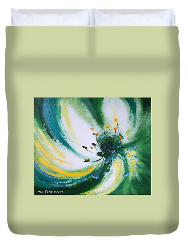Green Duvet Cover featuring the painting From The Heart Of A Flower Green by Gina De Gorna
