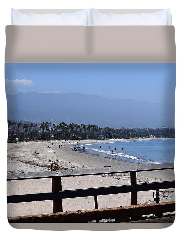 Pier Duvet Cover featuring the photograph From The Santa Barbara Pier by Randal Higby