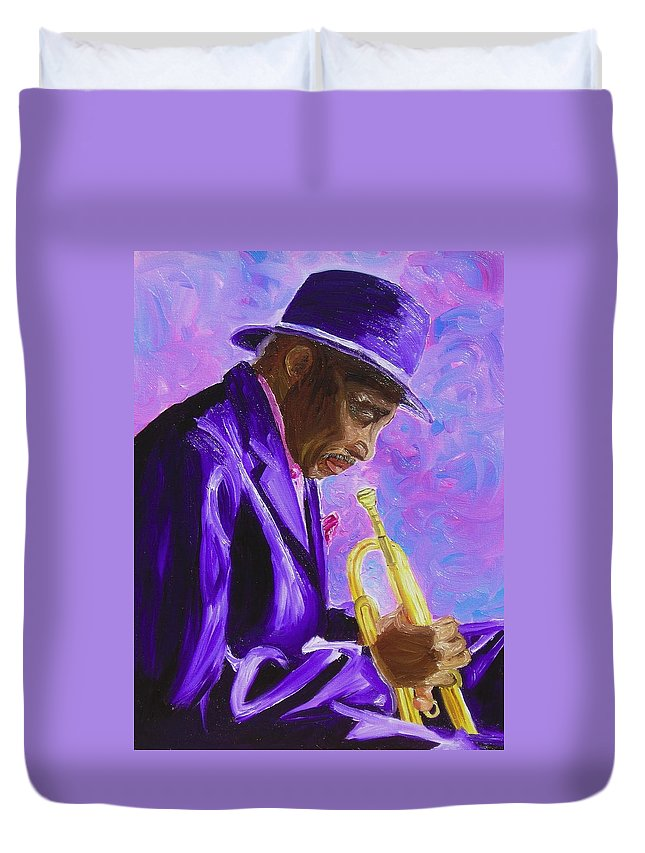 Street Musician Trumpet Player Duvet Cover featuring the painting From The Soul by Michael Lee
