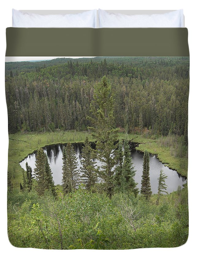 Esker Hills Saskatchewan Hanson Lake Road Lake Forest Water Trees Evergreen Scenery Wild Pond Duvet Cover featuring the photograph From The Top Of Esker Hills by Andrea Lawrence