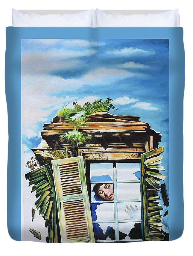 Fine Art Prints Duvet Cover featuring the painting From The Window by Kalakaar