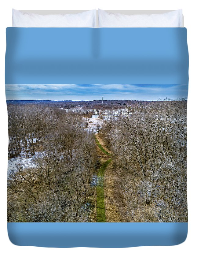 Woods Duvet Cover featuring the photograph From Woods To Snow by Nick Smith