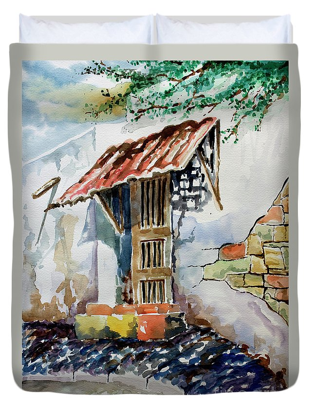 Mexican Doorway Painting Duvet Cover featuring the painting Front Door by Kandyce Waltensperger