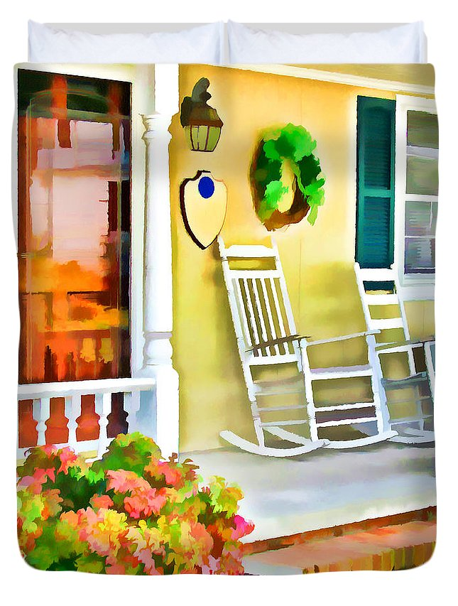 Front Porch Duvet Cover featuring the painting Front Porch 2 by Jeelan Clark